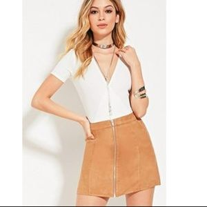 Dresses & Skirts - Suede Skirt with Zipper Detail